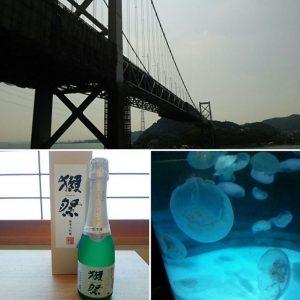 関門海峡と獺祭と水族館のクラゲ