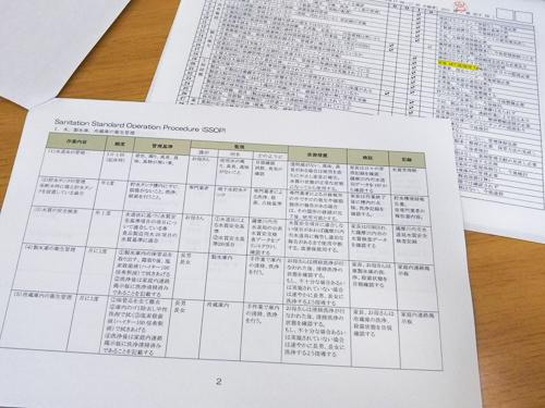 HACCP構築のためのチェックリストの一部