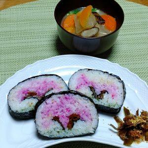 オンライン料理教室 桜の飾り巻き寿司
